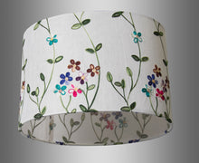 Oval Lamp Shade - P43 - Embroidered Flowers on White, 30cm(w) x 20cm(h) x 22cm(d)