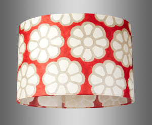 Oval Lamp Shade - P18 - Batik Big Flower on Red, 30cm(w) x 20cm(h) x 22cm(d)