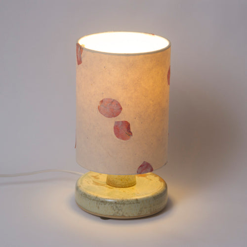 Round Pale Green Stoneware Table Lamp Base with Drum Lamp Shade P33 (15cm Wide x 20cm High)