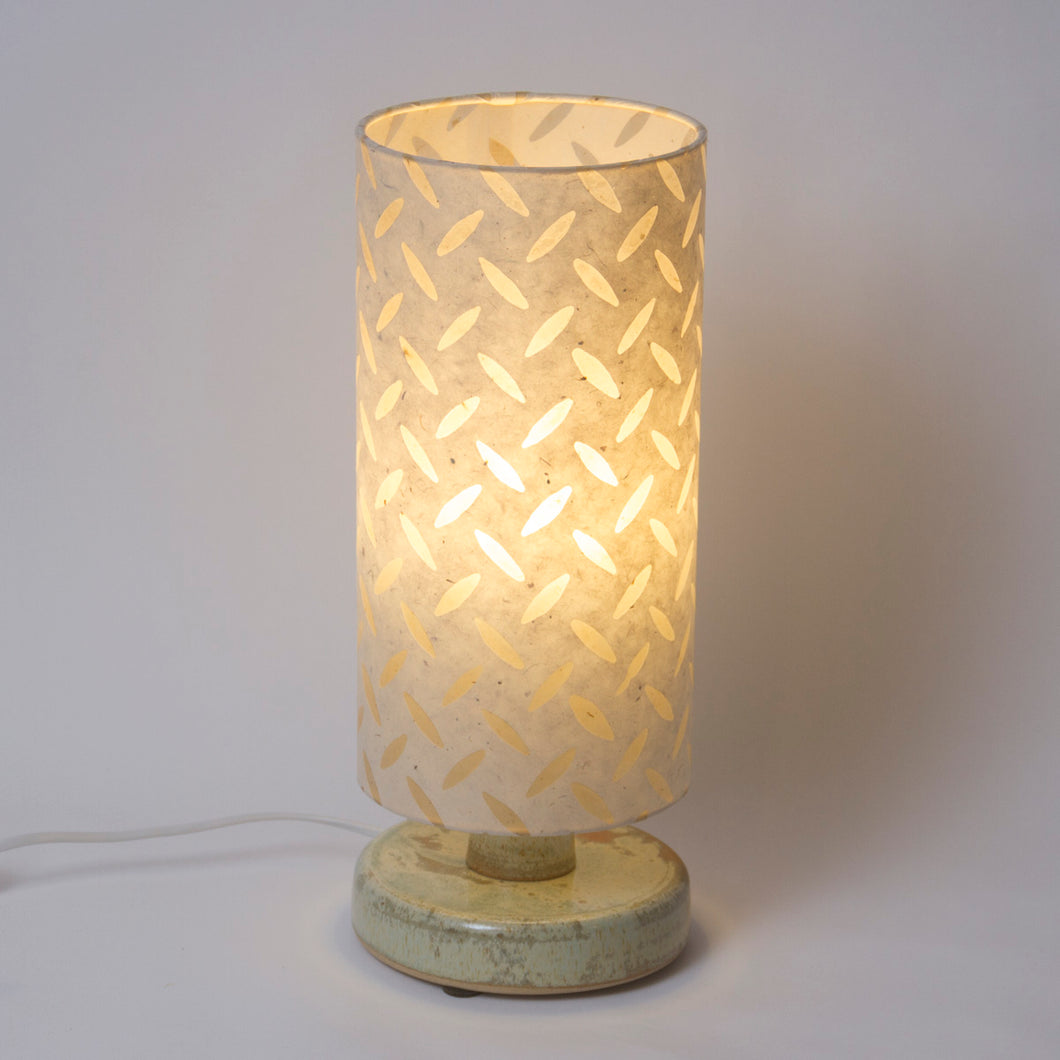 Round Pale Green Stoneware Table Lamp Base with Drum Lamp Shade P10 (15cm Wide x 30cm High)