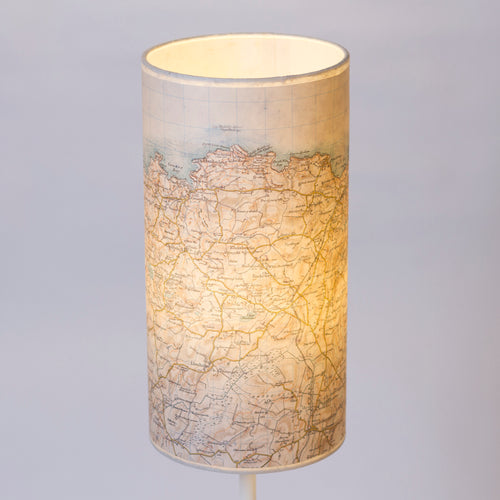 15cm(d) x 30cm(h) Drum Lamp Shade - Cassini Historical Map (1903 - 1910) Cemaes Bay