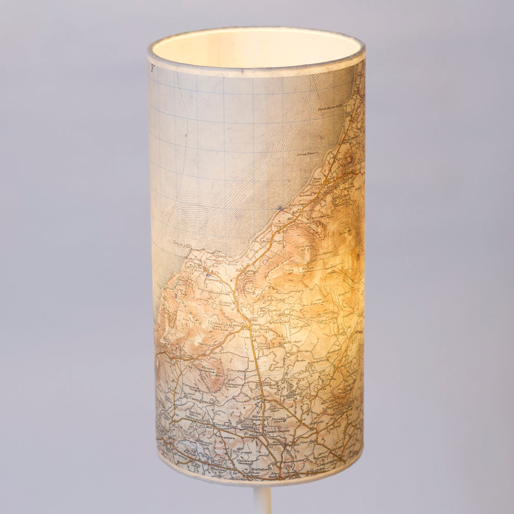 15cm(d) x 30cm(h) Drum Lamp Shade - Cassini Historical Map (1903 - 1910) Llyn Peninsular