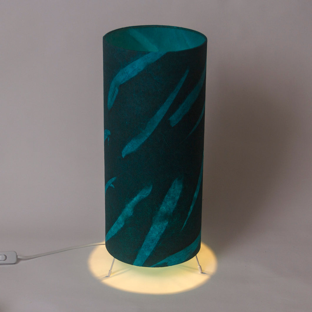 Free Standing Table Lamp Large - P99 - Teal Bamboo Resistance dyed Lokta
