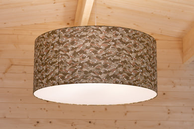 Drum Lamp Shade - W03 ~ Gold Waves on Greys, 70cm(d) x 30cm(h)