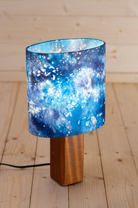 Square Table Lamp with 20cm Oval Lamp Shade B113 ~ Batik Ocean Blues