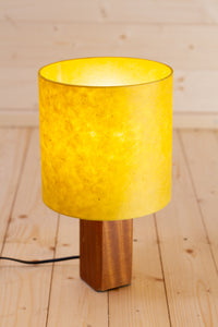 Square Sapele Table Lamp with 20x20cm Lamp Shade P62 ~ Yellow Lokta