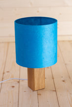 Square Oak Table Lamp with 20x20cm Lamp Shade P52 ~ Teal Lokta