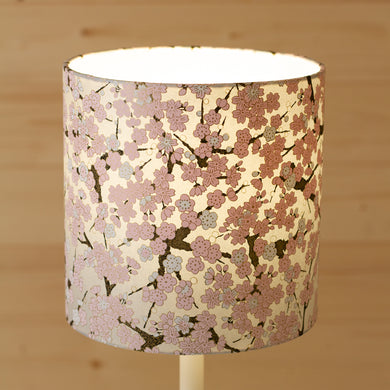 Drum Lamp Shade - W02 ~ Pink Cherry Blossom on Grey, 20cm(d) x 20cm(h)