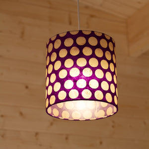 Drum Lamp Shade - P79 - Batik Dots Purple, 20cm(d) x 20cm(h)