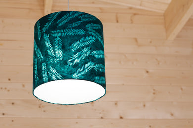 Drum Lamp Shade - B106 ~ Resistance Dyed Teal Fern, 30cm(d) x 30cm(h)