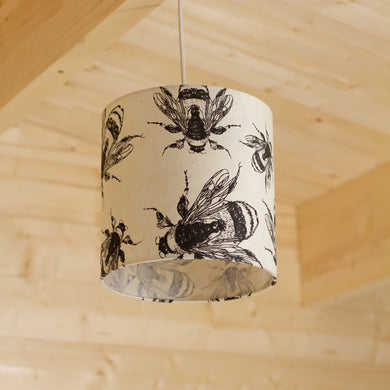 Drum Lamp Shade - P42 - Bees Screen Print on Natural Lokta, 20cm(d) x 20cm(h)