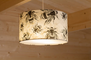 Drum Lamp Shade - P42 - Bees Screen Print on Natural Lokta, 35cm(d) x 20cm(h)