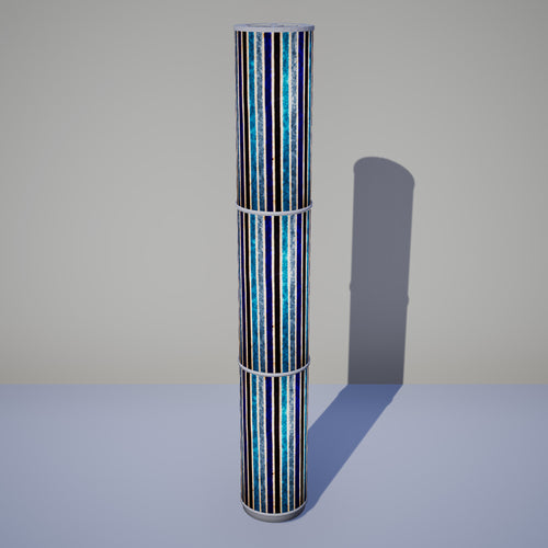 3 Panel Floor Lamp - P05 - Batik Stripes Blue, 20cm(d) x 1.4m(h)