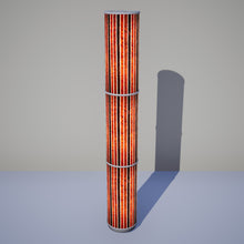 3 Panel Floor Lamp - P07 - Batik Stripes Brown, 20cm(d) x 1.4m(h)