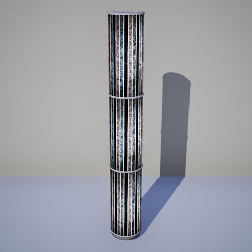 3 Panel Floor Lamp - P08 - Batik Stripes Grey, 20cm(d) x 1.4m(h)