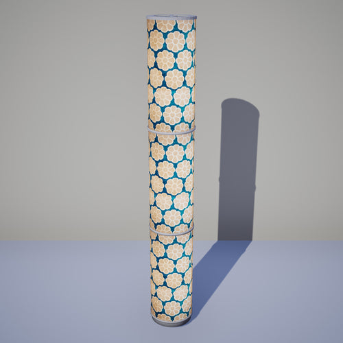 3 Panel Floor Lamp - P23 - Batik Big Flower on Teal, 20cm(d) x 1.4m(h)