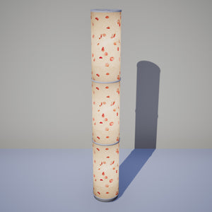 3 Panel Floor Lamp - P33 - Rose Petals on Natural Lokta, 20cm(d) x 1.4m(h)