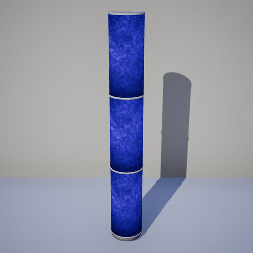 3 Panel Floor Lamp - P59 - Navy Blue Lokta, 20cm(d) x 1.4m(h)