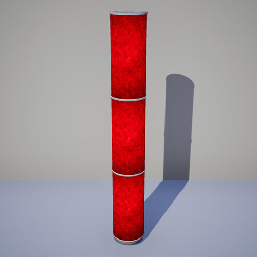 3 Panel Floor Lamp - P60 - Red Lokta, 20cm(d) x 1.4m(h)