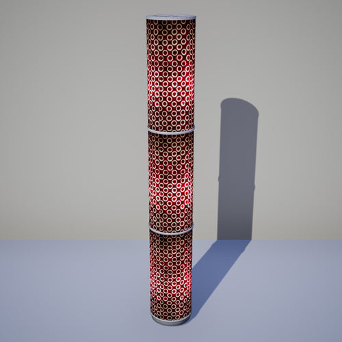 3 Panel Floor Lamp - P73 - Batik Cranberry Circles, 20cm(d) x 1.4m(h)
