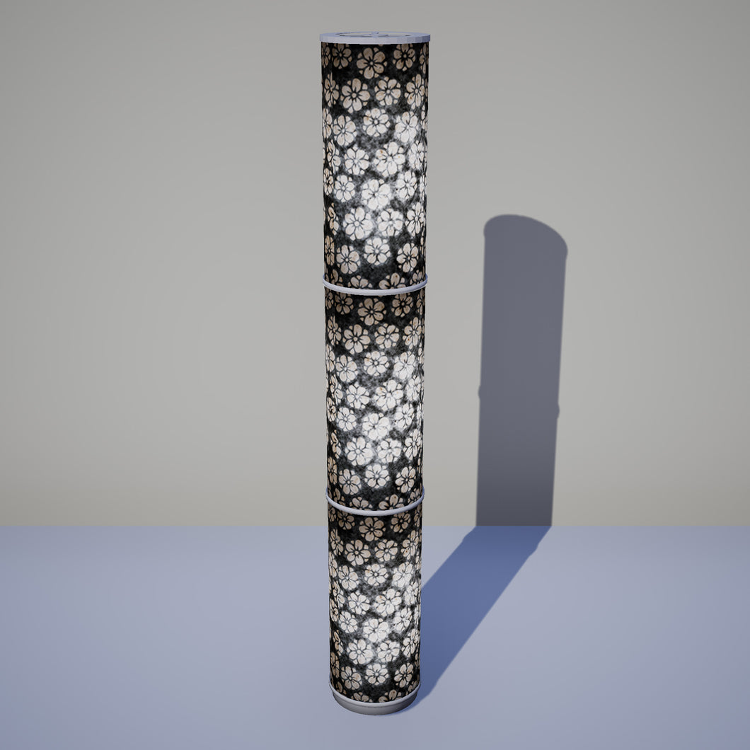 3 Panel Floor Lamp - P77 - Batik Star Flower Grey, 20cm(d) x 1.4m(h)