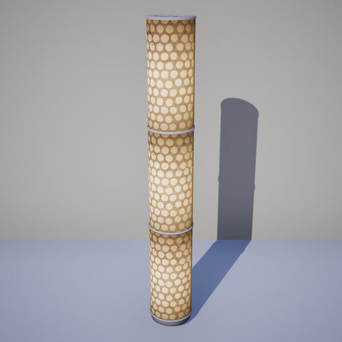 3 Panel Floor Lamp - P85 ~ Batik Dots on Natural, 20cm(d) x 1.4m(h)