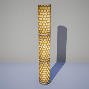 3 Panel Floor Lamp - P86 ~ Batik Dots on Yellow, 20cm(d) x 1.4m(h)