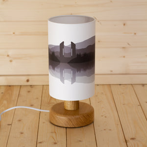 Landscape #2 Print Round Table Lamp - Grey