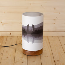 Landscape #2 Print Round Flat Table Lamp - Grey