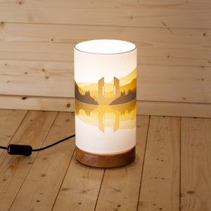 Landscape #2 Print Round Flat Table Lamp - Yellow