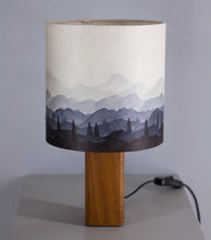 Hand-drawn Ink Sketch Lampshade on a Sapele Square Table Lamp