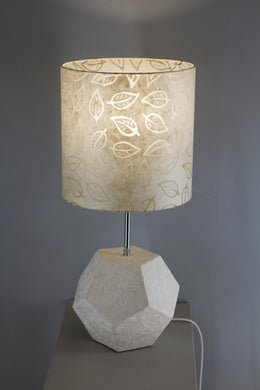 Gypsum Dodecahedron Table Lamp with a Batik Leaf Drum Lamp Shade P28