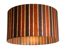 Drum Lamp Shade - P07 - Batik Stripes Brown, 35cm(d) x 20cm(h) - Imbue Lighting