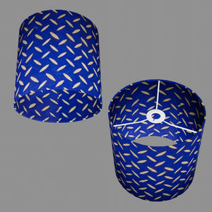 Drum Lamp Shade - B103 ~ Batik Tread Plate on Royal Blue, 25cm x 25cm