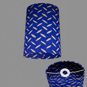 Oval Lamp Shade - B103 ~ Batik Tread Plate on Royal Blue, 20cm(w) x 30cm(h) x 13cm(d)