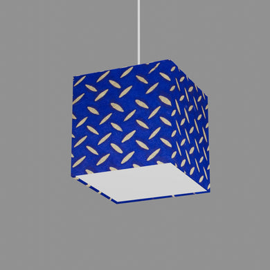 Square Lamp Shade - B103 ~ Batik Tread Plate on Royal Blue, 20cm(w) x 20cm(h) x 20cm(d)