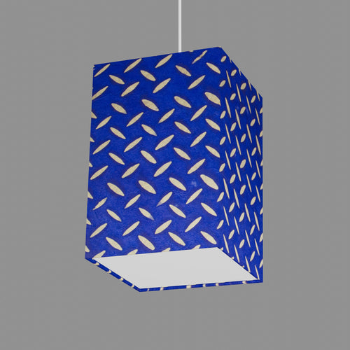 Square Lamp Shade - B103 ~ Batik Tread Plate on Royal Blue, 20cm(w) x 30cm(h) x 20cm(d)