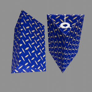 Triangle Lamp Shade - B103 ~ Batik Tread Plate on Royal Blue, 20cm(w) x 30cm(h)