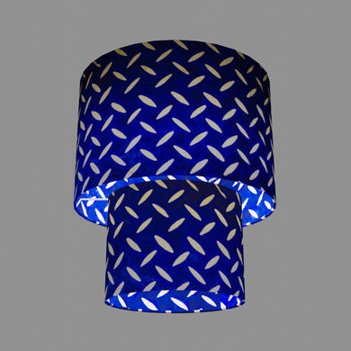 2 Tier Lamp Shade - B103 ~ Batik Tread Plate on Royal Blue, 30cm x 20cm & 20cm x 15cm