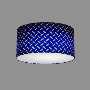 Drum Lamp Shade - B103 ~ Batik Tread Plate on Royal Blue, 50cm(d) x 25cm(h)