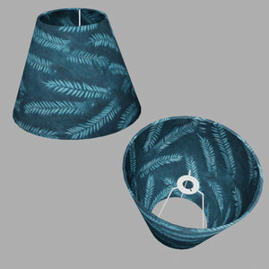 Conical Lamp Shade B106 ~ Resistance Dyed Teal Fern, 15cm(top) x 30cm(bottom) x 22cm(height)