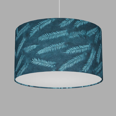 Drum Lamp Shade - B106 ~ Resistance Dyed Teal Fern, 35cm(d) x 20cm(h)