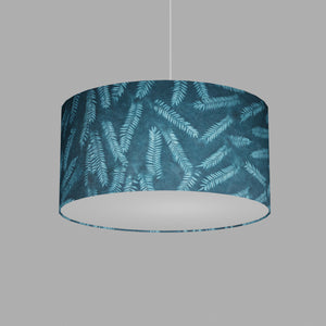 Drum Lamp Shade - B106 ~ Resistance Dyed Teal Fern, 50cm(d) x 25cm(h)