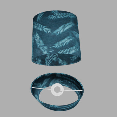 Oval Lamp Shade - B106 ~ Resistance Dyed Teal Fern, 20cm(w) x 20cm(h) x 13cm(d)