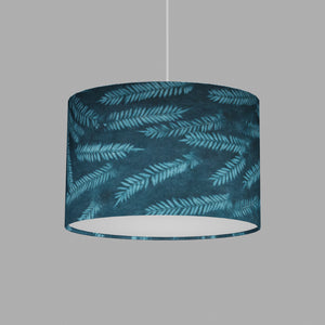 Oval Lamp Shade - B106 ~ Resistance Dyed Teal Fern, 30cm(w) x 20cm(h) x 22cm(d)