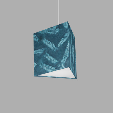 Triangle Lamp Shade - B106 ~ Resistance Dyed Teal Fern, 20cm(w) x 20cm(h)