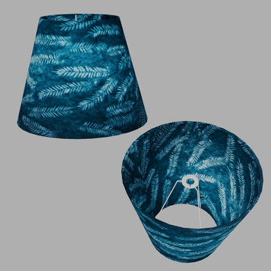 Conical Lamp Shade B106 ~ Resistance Dyed Teal Fern, 23cm(top) x 40cm(bottom) x 31cm(height)