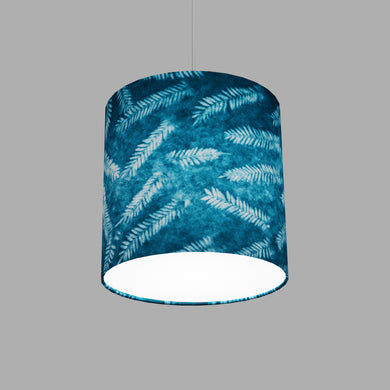 Drum Lamp Shade - B106 ~ Resistance Dyed Teal Fern, 25cm x 25cm