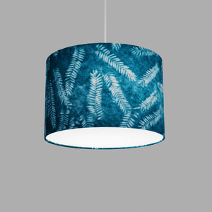 Drum Lamp Shade - B106 ~ Resistance Dyed Teal Fern, 30cm(d) x 20cm(h)