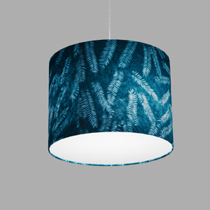 Drum Lamp Shade - B106 ~ Resistance Dyed Teal Fern, 40cm(d) x 30cm(h)